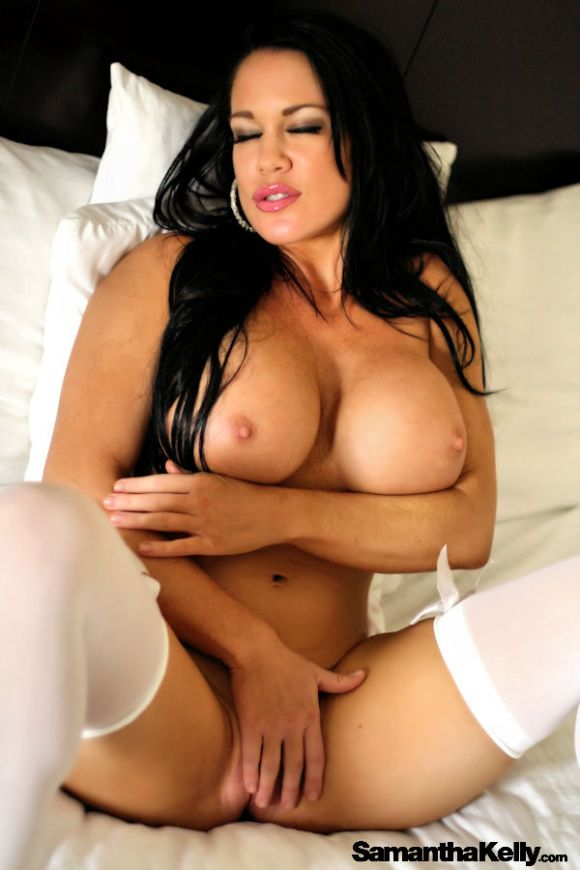 Natural Beauty Samantha Kelly showing off big, perfect round boobs and white stockings