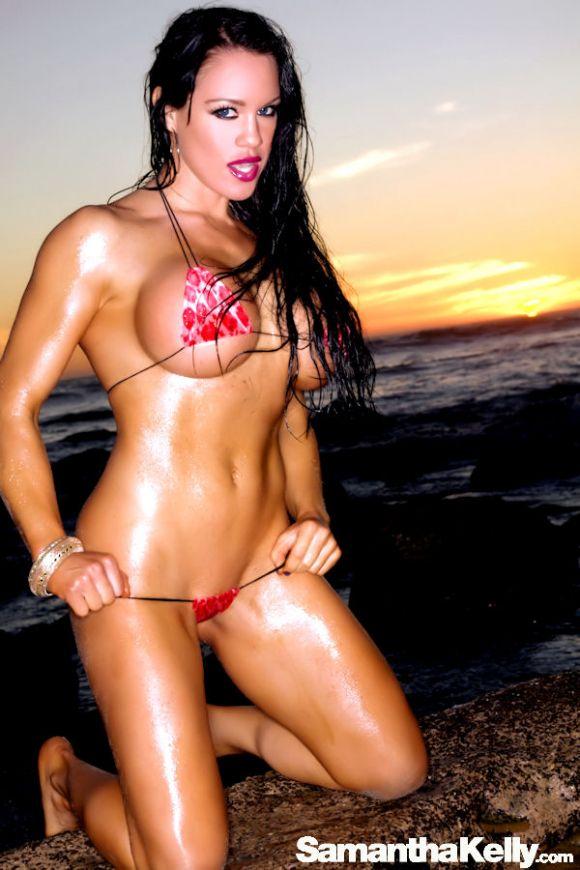 Samantha Kelly in the tiniest bikini shooting at sunset on Malibu Beach