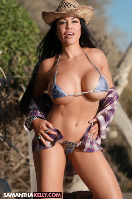 Samantha Kelly in a tiny bikini with huge boobs, tight body, cowgirl hat and boots