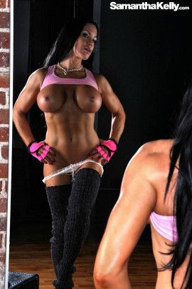 Samantha Kelly Muscle Flex Reflection Topless