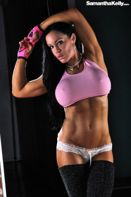 Samantha Kelly Muscle Flex Reflection Topless