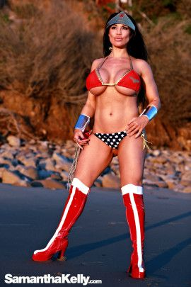 Samantha Kelly Wonder Woman at the Beach