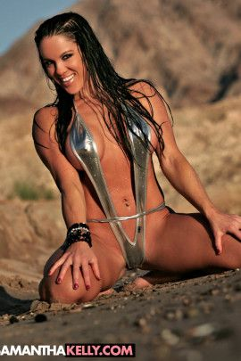 Samantha Kelly wet in a sexy, silver sling bikini