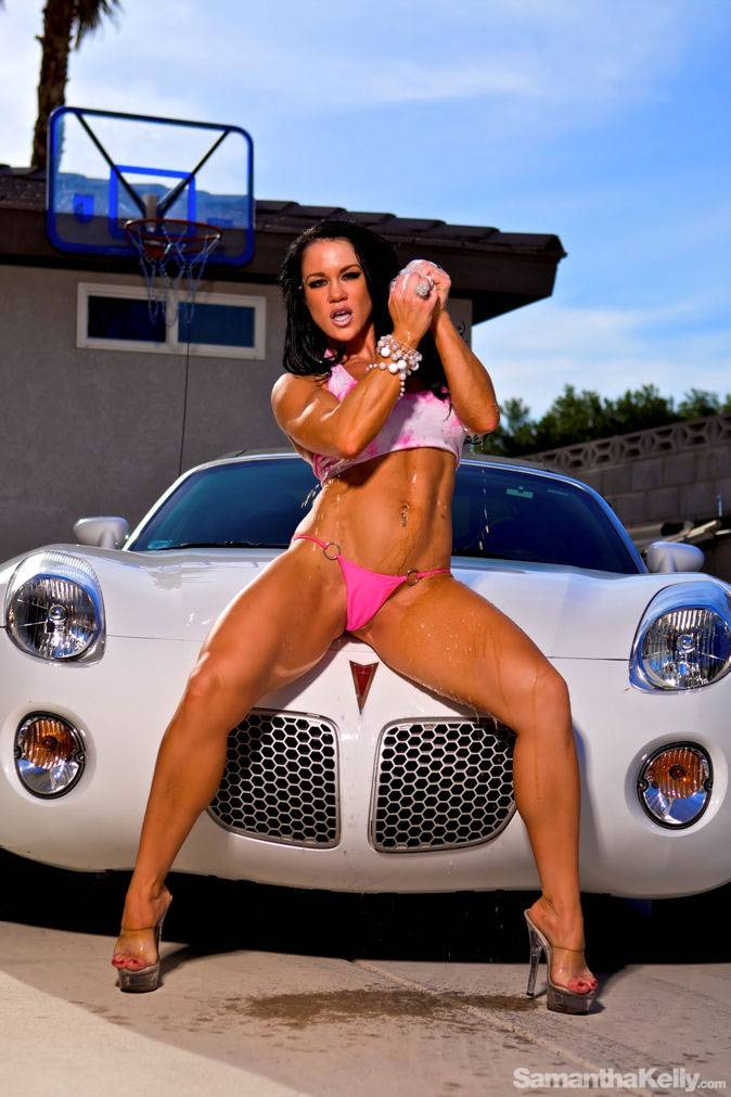 Samantha Kelly getting wet washing car thumb 2