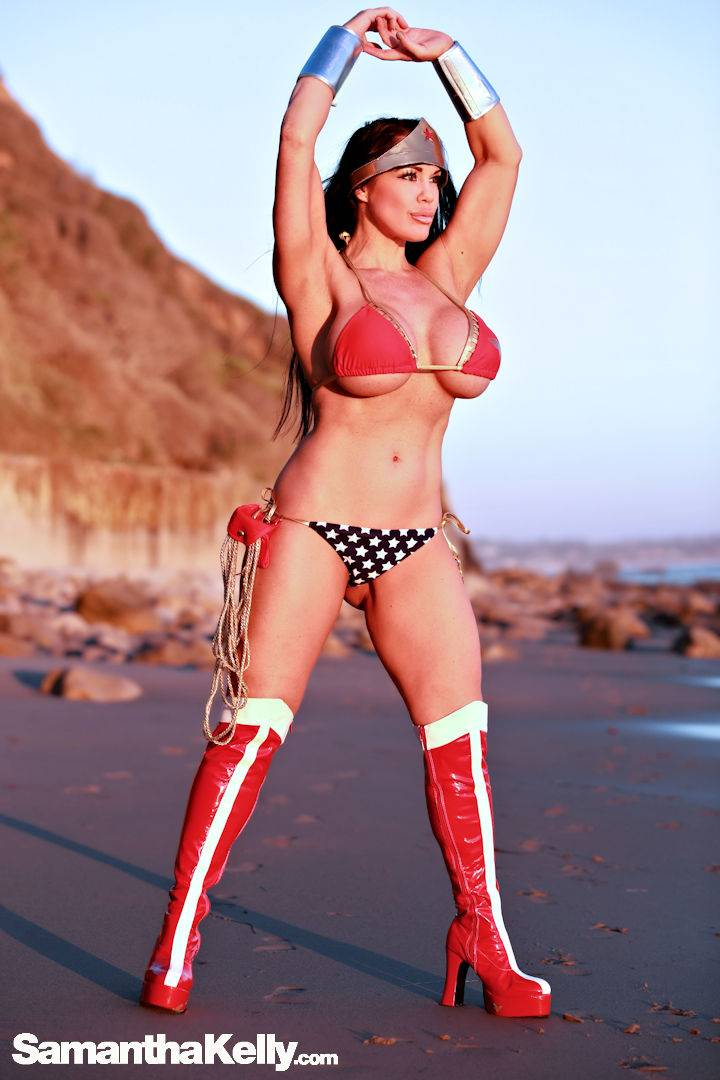 Samantha Kelly Wonder Woman at the Beach thumb 2