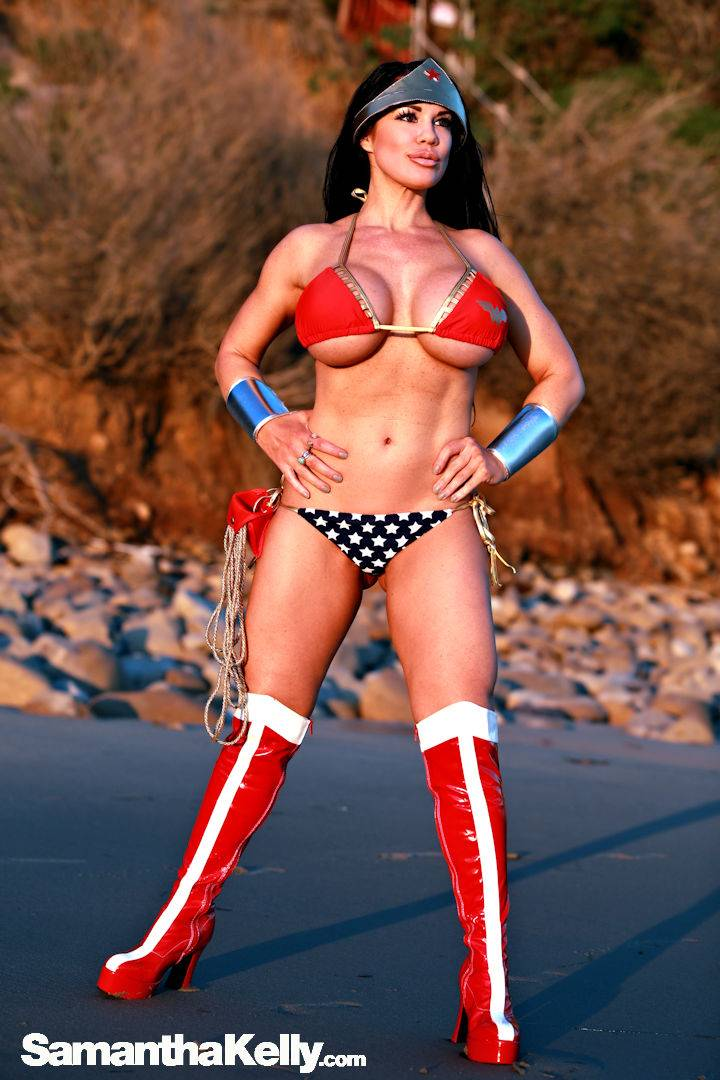 Samantha Kelly Wonder Woman at the Beach thumb 3