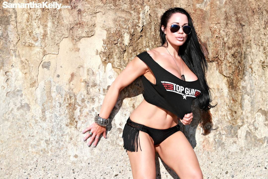 Samantha Kelly big boobs topless top gun t-shirt thumb 1
