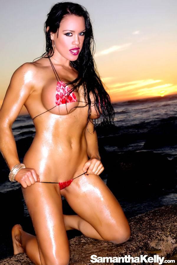 Samantha Kelly in the tiniest bikini shooting at sunset on Malibu Beach thumb 1