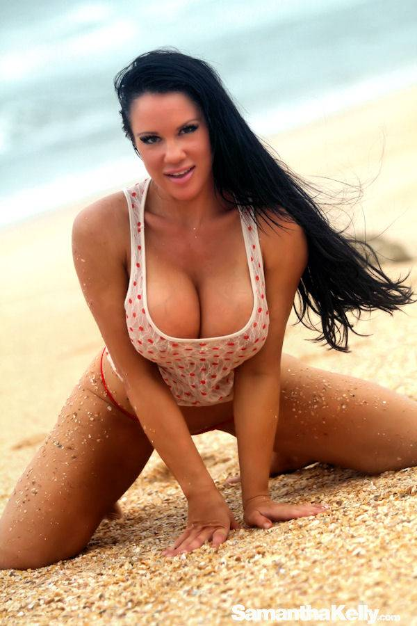 Samantha Kelly taking over Florida's beaches topless thumb 1