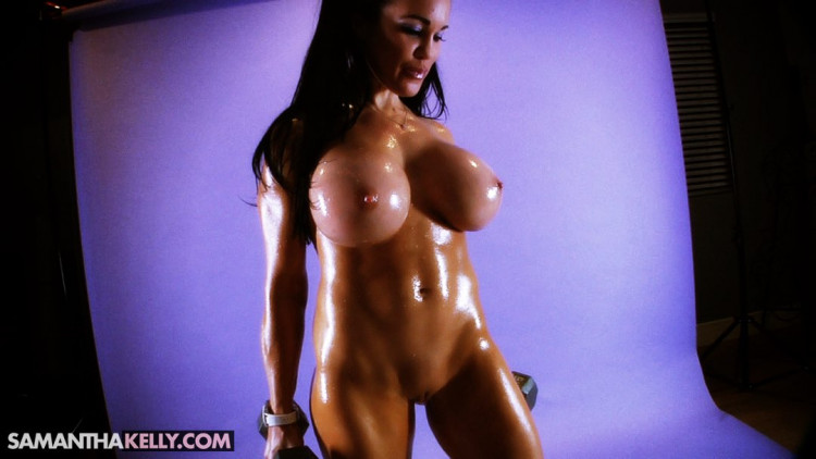 Fully Nude Covered in Oil Bicep Workout