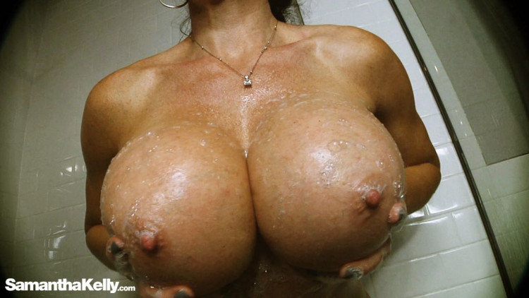 1100cc Massive Soapy Boobs BE and Pec Flex Nude In the Shower