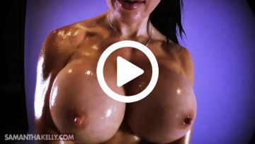 Samantha Kelly flexing 1100cc titties covered in extreme oil