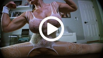 Samantha Kelly sexy body flexing and stretching in fishnets